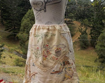 mex garden skirt, exotic romantic, embroideries, lace & crochet, small / medium