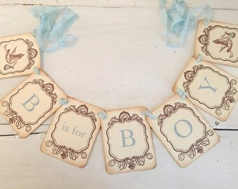 Boy Stork Banner BlueGarland Baby Shower Decoration