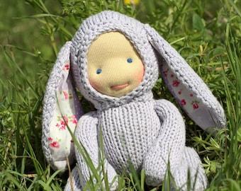 "Waldorf doll Bunny Purple 8,5"" Gifts for Children, Toddlers Newborn Girls Boy Children birthday knitted toy kids gift Easter"