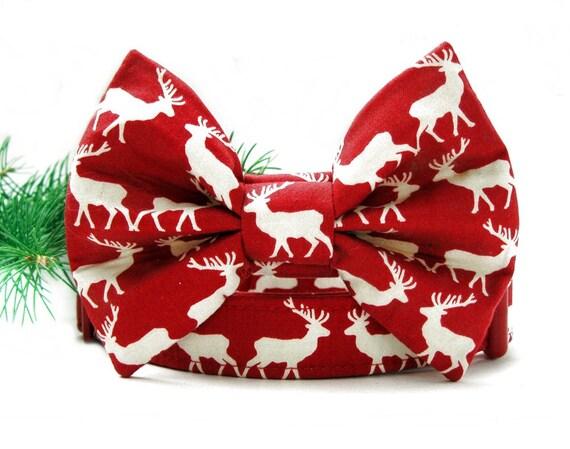 Christmas Reindeer Bow Tie Dog Collar