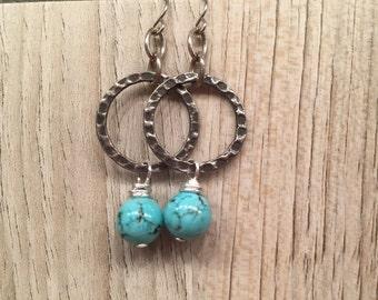 Pop of turquoise fun earrings dangling unique fashion forward trendy women boho chic