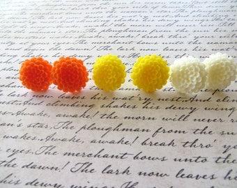 Colorful Resin Mum Post Earrings