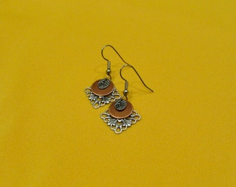 Silver and copper snowflake earrings (Style #274C)