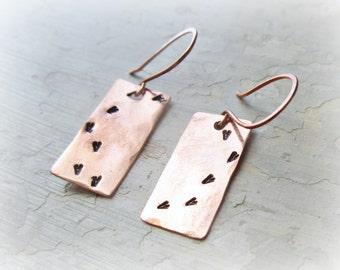 Bird Print Earrings,Stamped Earrings,Copper Dangles,Rustic Earrings, Hammered Earrings,Copper Earrings, Metalwork Copper, FootPrint Earrings
