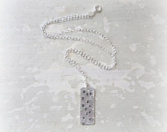 Polka Dot Necklace, Stamped Pendant, Sterling Necklace, Mod Necklace, Hammered Pendant, Dotted Pendant, Metalwork Jewelry, Dotted Pendant,