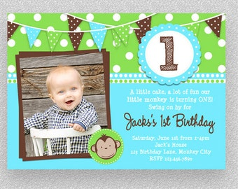 Boys 1st Birthday Monkey Invitation,  Boys  Monkey Invitation ,  Printable Monkey Invitation, 1st Birthday Monkey Invitation