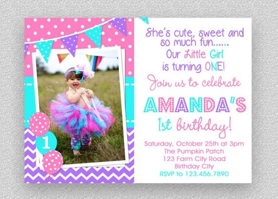 girls 1st birthday invitation purple pink turquoise birthday