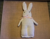 Custom Order for Caroline, White Knitted Bunny with Pink Bow