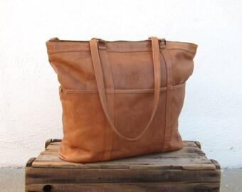 Large Tan Leather Shoulder Tote Travel Diaper School Overnight Laptop Bag