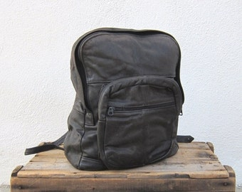 15% Off Out Of Town SALE 90s Backpack Daypack Patchwork Black Leather Medium Travel School Bag