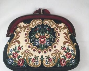 Vintage Faux Embroidered Handbag