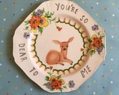 You Are So Dear To Me Vintage Deer Vintage Illustrated Plate