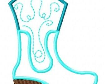 Machine Embroidery Design Boot Cowboy Cowgirl 5x7 Applique Instant Download Joyful Stitches // Joyful Stitches