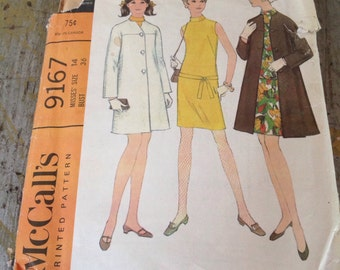 Vintage McCall's Sewing Pattern 9167 Misses' Dress and Coat Size 14 Bust 36