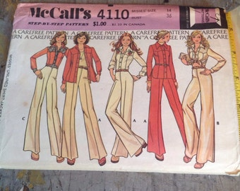 Vintage McCall's Sewing Pattern 4110 Misses' Size 14 Shirt Jacket