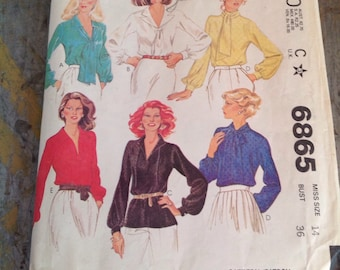 Vintage McCall's Sewing Pattern 6865 Misses' Size 14 Blouse