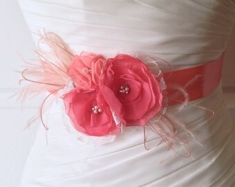 Coral and Blush Flower Bridal Sash, Pink Coral Wedding Sash, Coral Bridal Belt, Pink Wedding, Pink Bridal Belt, Bridal Accessories