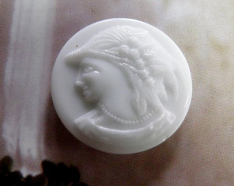 Antique White Glass Cameo Button