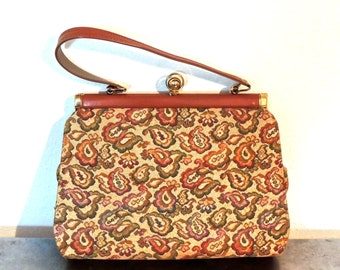 vintage metallic tapestry purse - 1950s Elbief England caramel leather tapestry structured handbag
