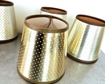 vintage gold lampshades - 1950s-60s mid century metallic lamp shades 7 available