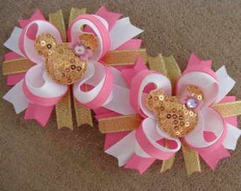 Two Pink and gold Hair Bows Mouse Hair Bows Minnie Mouse Hair Bow Medium Boutique Hair Bows white pink gold