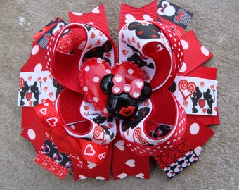 Minnie Mouse Hair Bows Large Boutique Hair Bow Valentine Minnie mouse hair bow