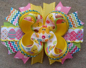Easter Hair Bow - Large Twisted Boutique easter chick hair bow embridered egg hair bow