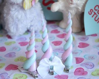 Fairy Kei Cotton Candy Pastel Rainbow Unicorn Horn Hair Clip Pick One
