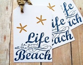 Starfish Rustic Beach Tags Destination Wedding Bridesmaid Tag Life is Good at the Beach