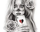 HeartBreaker Chicano Tattoo Clown Girl Playing Card Rose Heart Art Print Glossy Emo Fantasy Girl Zindy Nielsen