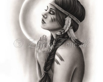 Moon Spirit Girl Feather Native Indian Spiritual Emo Art Print Zindy