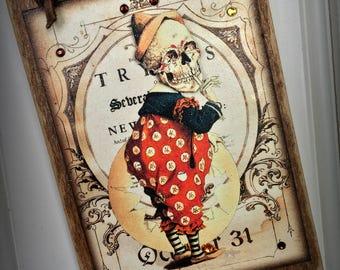 Halloween Skeleton Clown Wood Sign Ornament, Goth, Steampunk, Victorian