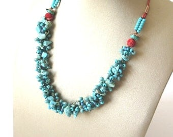 Turquoise Beaded  Necklace, Crocheted Turquoise Necklace, handmade Necklace, Gift For Mom, Holidays Gift, Gift For Women, By Creatwithlove.