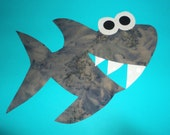 Iron On Applique FUNNY SHARK With Teeth And Eyes...Grey Batik