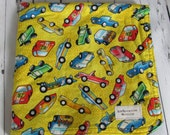 Ready to ship //Yellow Car and Truck Fabric and Blue Minky Dot Security Blanket Lovey
