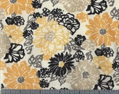 Cotton Fabric -  Yellow, Grey, Gold and Black Floral Screen Print - Last Yard