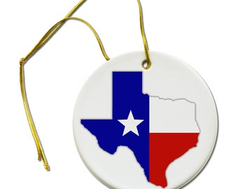 Texas American State Flag on a Hanging Ceramic Ornament
