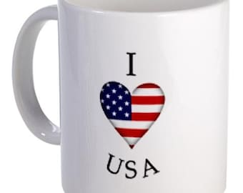 I Heart USA Flag 11oz Ceramic Coffee Cup Mug