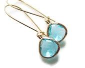 Aquamarine glass earrings. Blue topaz earrings.  Aqua earring. Tear drop earring. Bridesmaids earrings. Wedding jewelry. Bridesmaid earrings