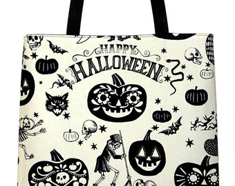 Day of the Dead Tote Bag Halloween Large Tote Carryall Book Bag - Ready to Ship