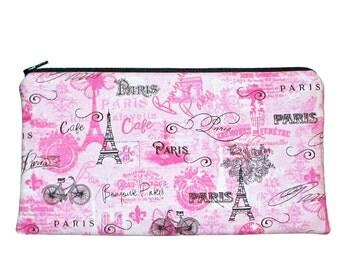 Paris Theme Pencil Case Eiffel Tower Pink and Black Zipper Pouch