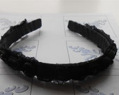 Black Ribbon Rose Headband Flower Girl Crown, Midnight Black Halo Floral Tiara Wedding Accessories, Handmade Gifts