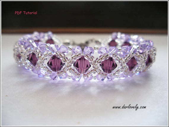 Beaded Bracelet Tutorial Pattern - Amethyst Violet Bracelet (BB004) - Beading Jewelry PDF Tutorial (Digital Download)