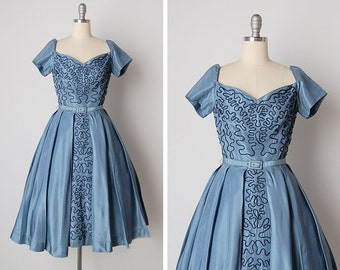 vintage 1950s dress / 50s taffeta dress / 50s beaded dress / Montepulciano dress