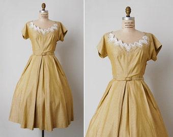 vintage 1950s dress / 50s yellow dress / 50s beaded dress / Golden Hour dress
