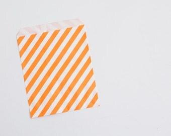 10 paper bag orange stripes