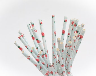 20 paper straws flowers
