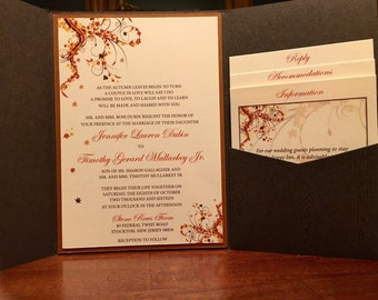 Chocolate Brown Fall Wedding Invitation