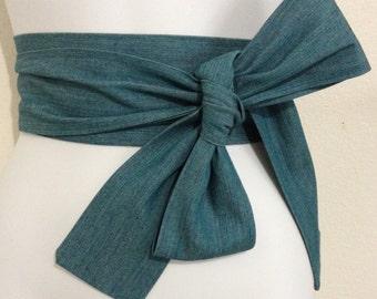 Kimono Obi Belt Sash One Size Denim Blue