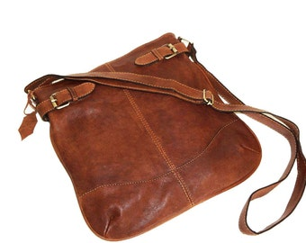 Distressed Cognac Brown Genuine Leather Messenger Bag Vidal // Leather Cross-body Bag fits an iPad